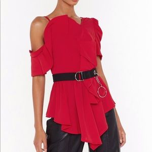 Nasty Gal, Red asymmetric blouse